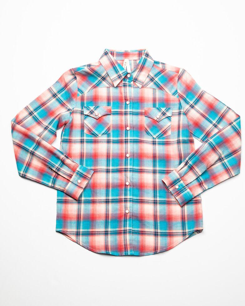 Roper Girls' Desert Sunrise Plaid Long Sleeve Western Shirt , Red, hi-res