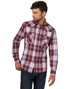 Wrangler Retro Men's Burgundy Plaid Long Sleeve Western Shirt  , Burgundy, hi-res