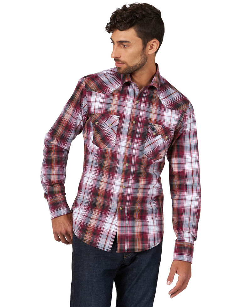 Wrangler Retro Men's Burgundy Plaid Long Sleeve Western Shirt  , Burgundy, hi-res