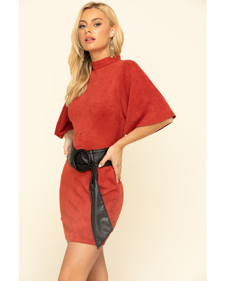 Flying Tomato Women's Rust Belted Dress , Chilli, hi-res
