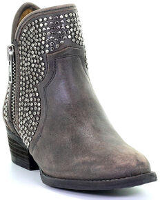 Circle G Women's Zipper and Studded Booties - Round Toe , Black, hi-res