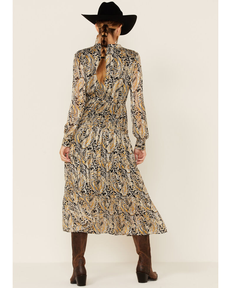 Elan Women's Paisley Tiered Maxi Dress , Black, hi-res