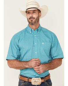 Ariat Men's Franz Geo Print Short Sleeve Button-Down Western Shirt - Big , White, hi-res