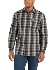 Carhartt Men's Black Hubbard Flannel Long Sleeve Work Shirt - Big, Black, hi-res