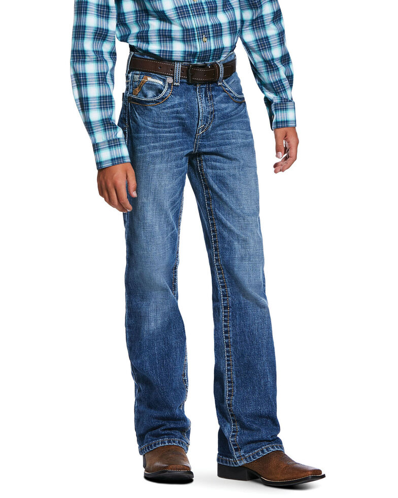 Ariat Boys' B4 Tourismo Dark Stretch Relaxed Boot Jeans , Blue, hi-res