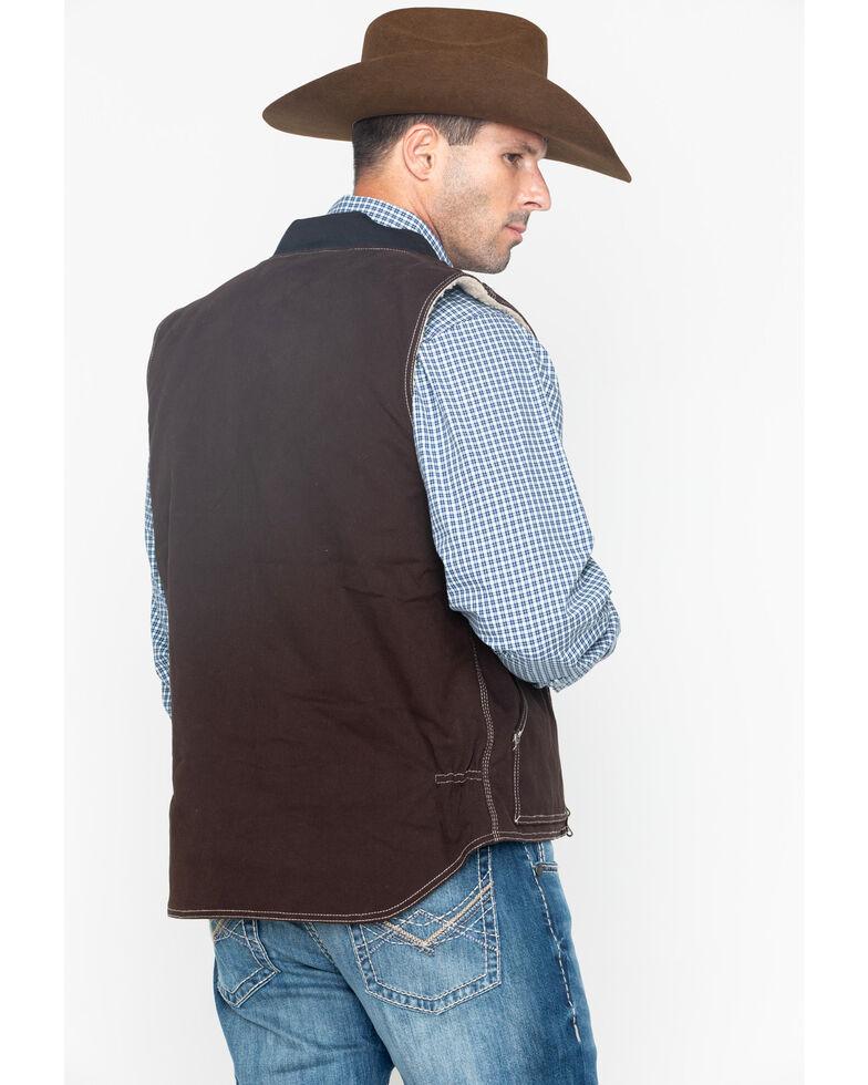 Cowboy Hardware Men's Zip-Up Workwear Logo Vest , Brown, hi-res