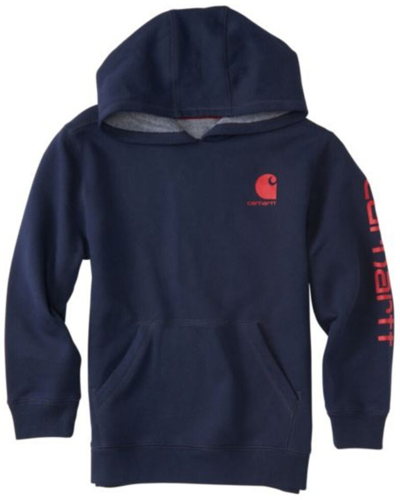Carhartt Boys' Navy Logo Hooded Sweatshirt , Navy, hi-res