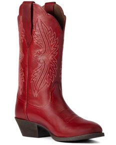 Ariat Women's Rosy Red Heritage R Toe Stretch Fit Full-Grain Western Boot - Round Toe, Red, hi-res