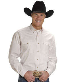 Roper Men's Solid Poplin Long Sleeve Western Shirt - Big & Tall, White, hi-res