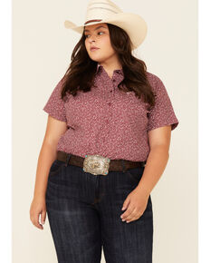 Ariat Women's Red Floral Print Kirby Short Sleeve Western Core Shirt - Plus, Red, hi-res