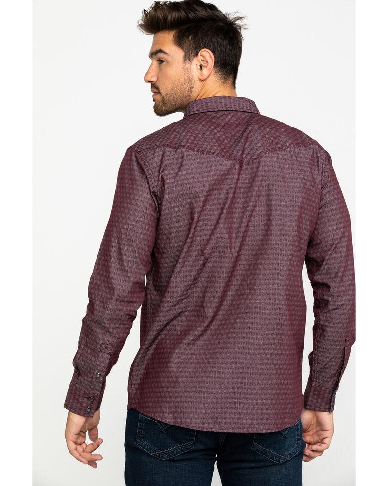 Moonshine Spirit Men's Snakeskin Diamond Geo Print Long Sleeve Western Shirt , Maroon, hi-res