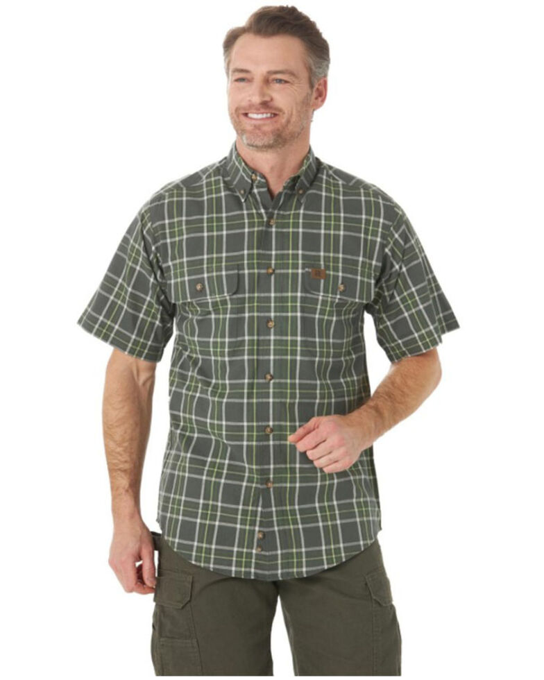 Wrangler Riggs Men's Green Foreman Plaid Short Sleeve Button-Down Work Shirt , Green, hi-res