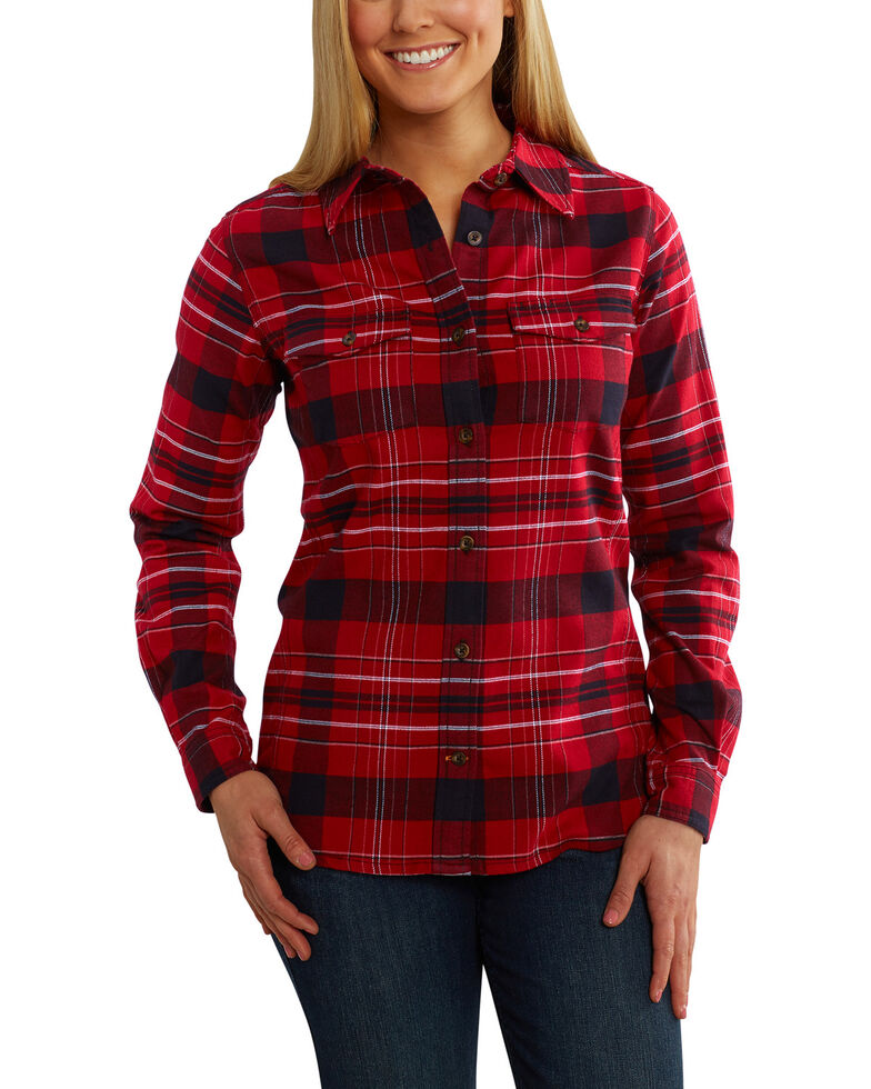 Carhartt Women's Purple Rugged Flex Hamilton Flannel Work Shirt , Dark Red, hi-res