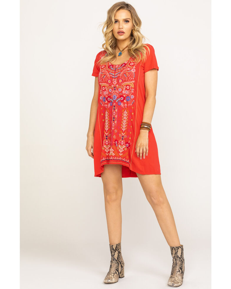 Johnny Was Women's Fredrique Panel Tunic Dress, Bright Pink, hi-res