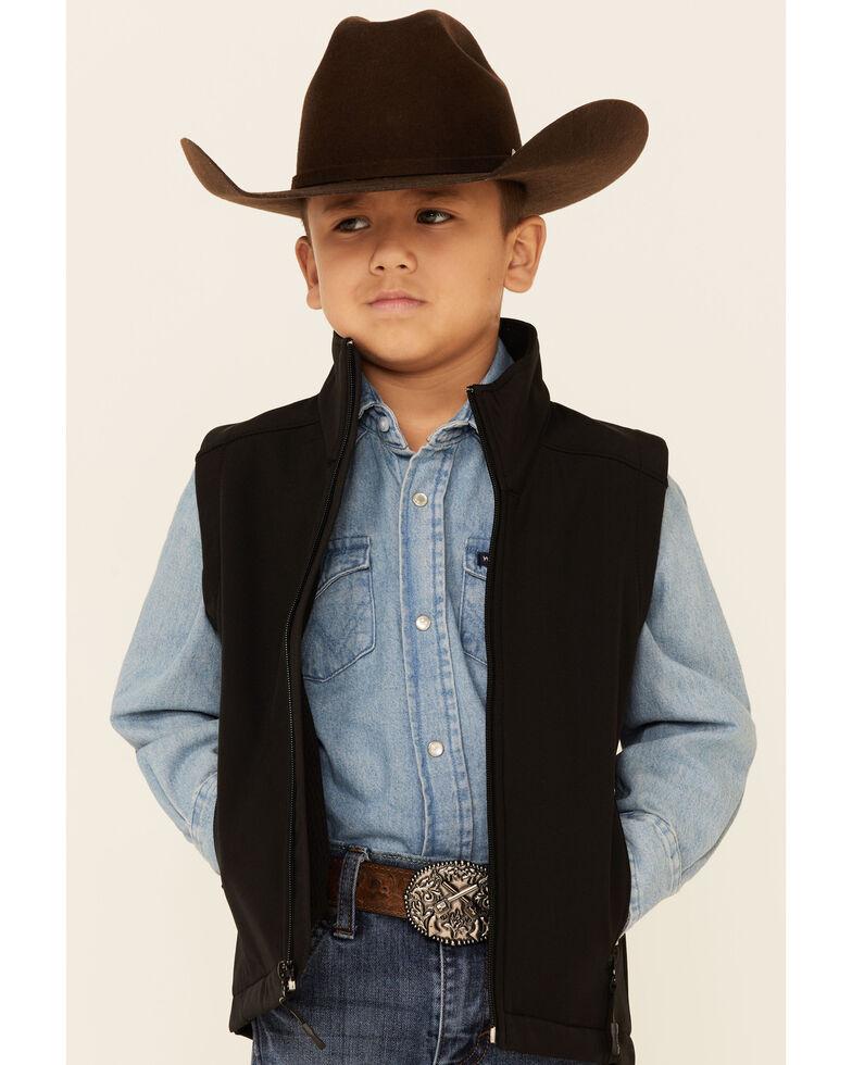 Roper Boys' Black Softshell Fleece Vest , Black, hi-res