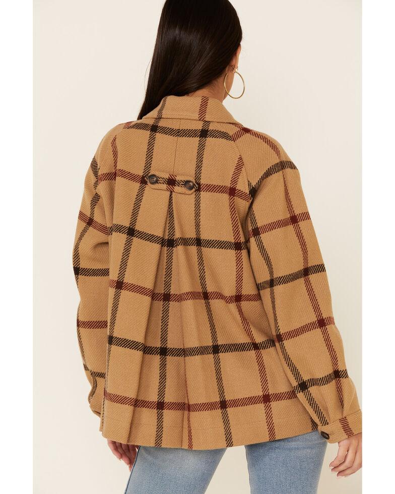 Pendleton Women's Tan Windowpane Daphne Wool Jacket  , Tan, hi-res