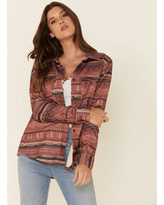 United By Blue Women's Currant Aztec Print Long Sleeve Western Flannel Shirt , Burgundy, hi-res