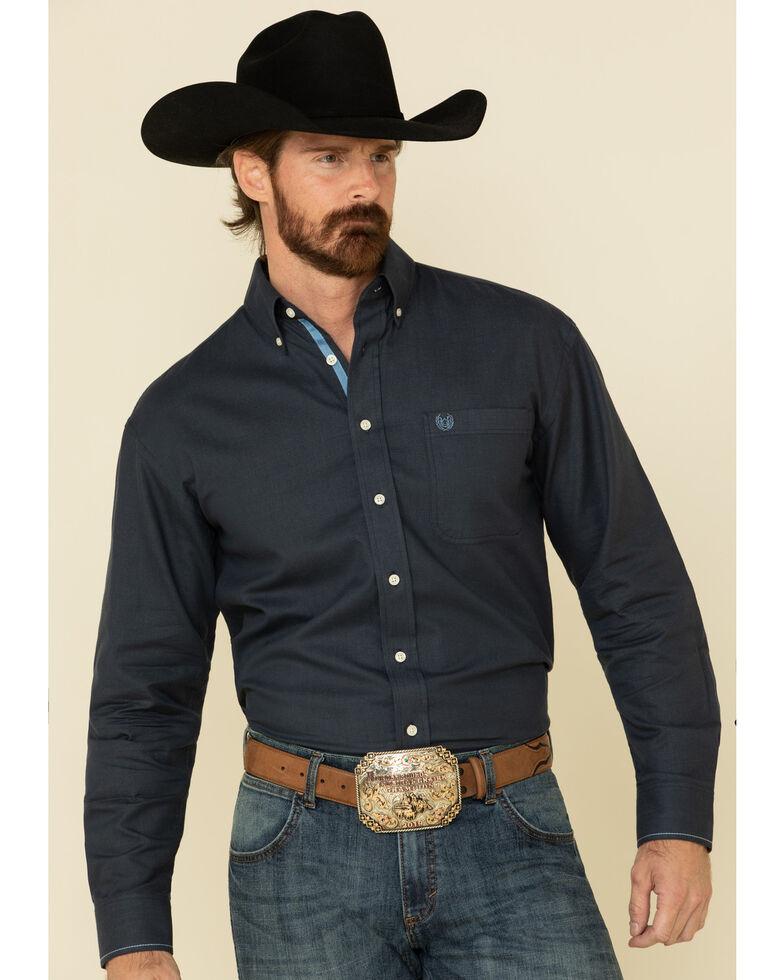 Rough Stock By Panhandle Men's Black Micro Honeycomb Solid Long Sleeve Western Shirt , Black, hi-res