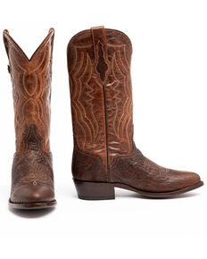 El Dorado Men's Handmade Whiskey Bison Cowboy Boots - Round Toe, Brown, hi-res