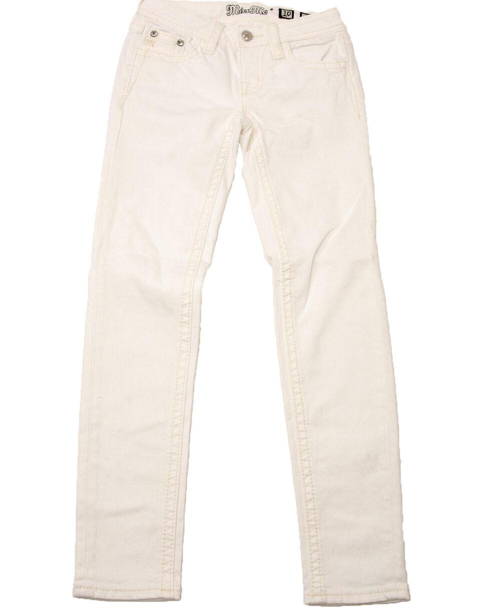 Miss Me Girls' White Cross Skinny Jeans, White, hi-res