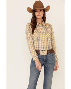 Ariat Women's R.E.A.L Summer Days Plaid Long Sleeve Snap Western Core Shirt , Gold, hi-res