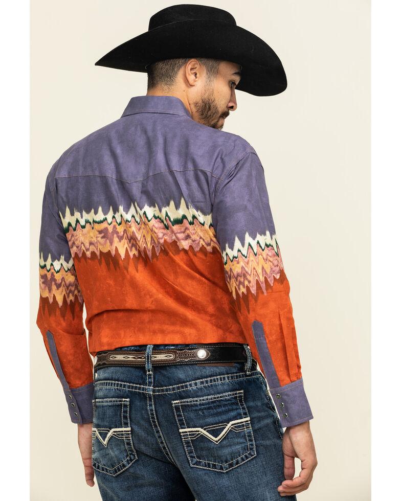 Wrangler Silver Edition Men's Plum Checotah Border Print Long Sleeve Western Shirt , Rust Copper, hi-res