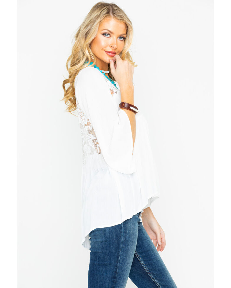 Panhandle Women's Crinkle Lace Long Sleeve Top, White, hi-res
