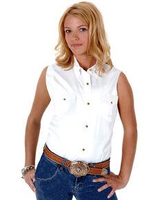 Roper Women's Stretch Poplin Sleeveless Shirt, White, hi-res