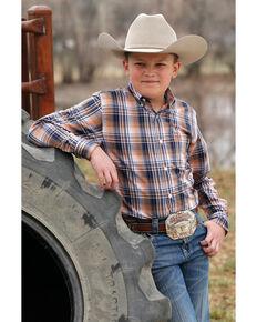 Cinch Boys' Multi Plaid Weave Button Long Sleeve Western Shirt , Orange, hi-res