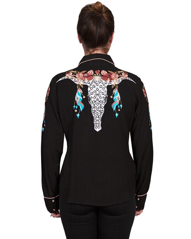 Scully Women's Black Tencel Snap Long Sleeve Shirt, Pink, hi-res