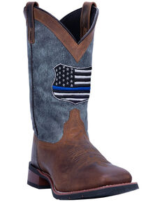 Laredo Men's We Back The Blue Western Boots - Wide Square Toe, Brown, hi-res