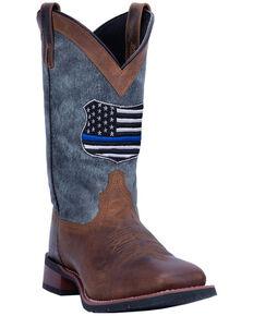 Laredo Men's We Back The Blue Western Boots - Wide Square Toe, Black, hi-res