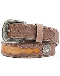 Cody James Men's Longhorn Concho Belt, Brown, hi-res
