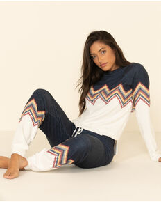 PJ Salvage Women's Chevron Pattern Pants, Multi, hi-res