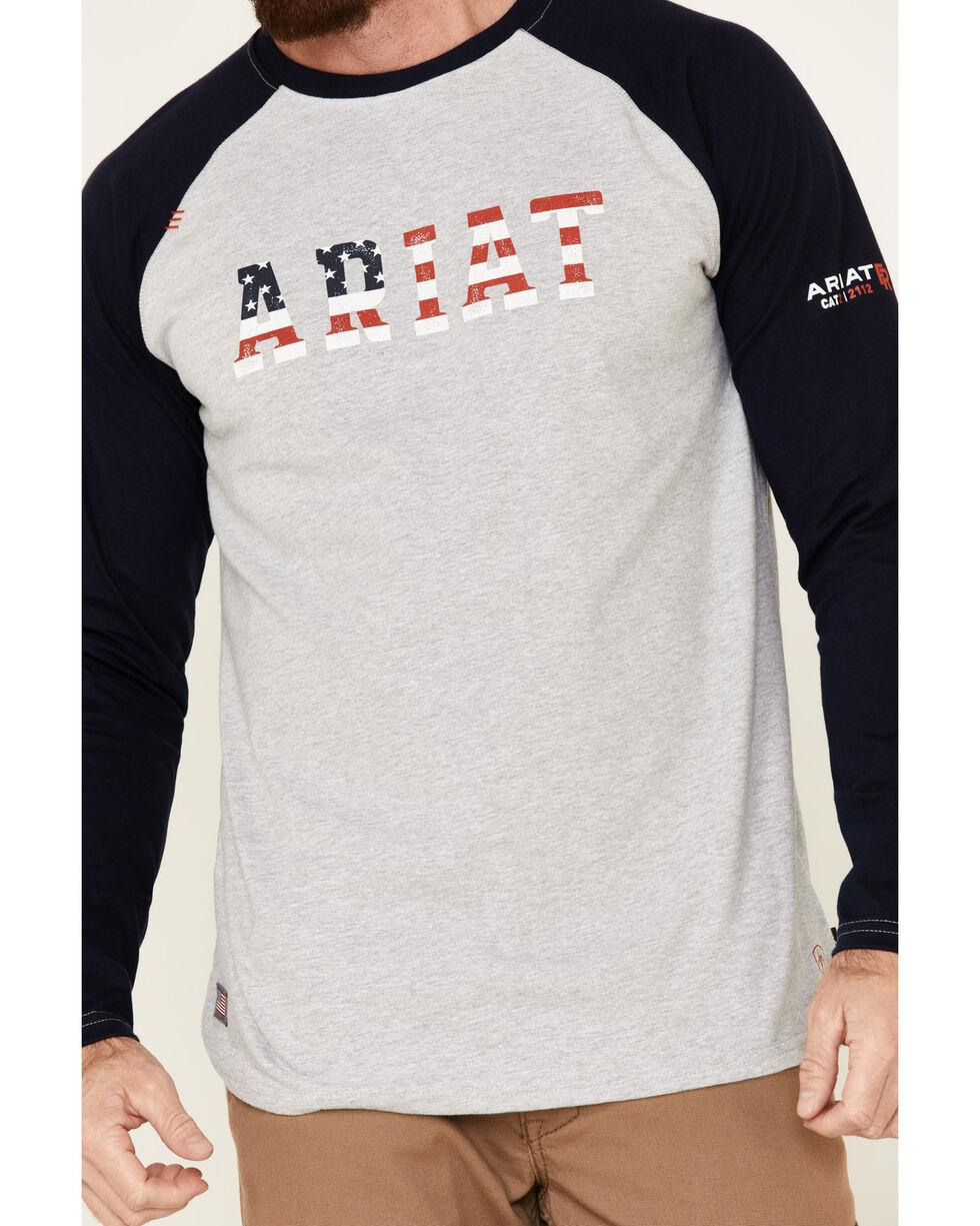 Ariat Men's Navy FR Baseball Logo Crew Work Tee , Navy, hi-res