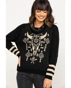 Rock & Roll Cowgirl Women's Black & White Steerhead Sweater, Black, hi-res