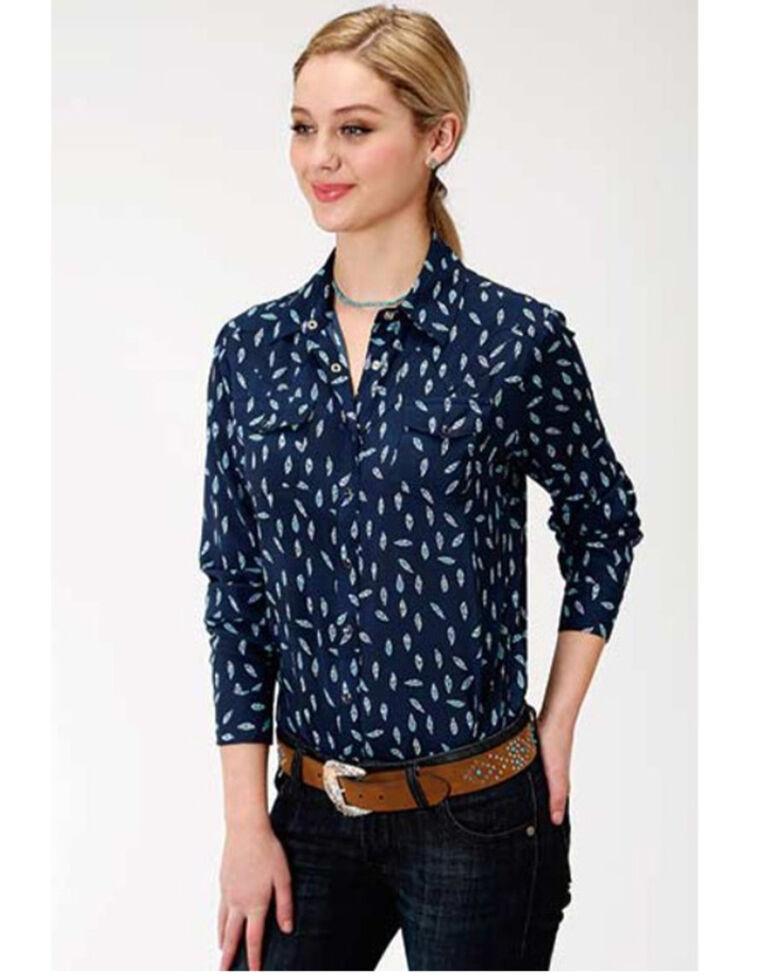 Roper Women's Feather Print Long Sleeve Snap Western Shirt, Navy, hi-res