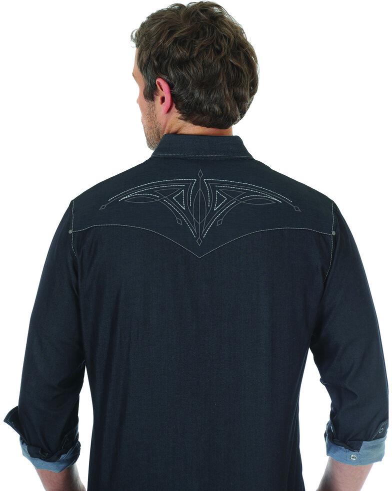 Rock 47 by Wrangler Men's Black Embroidered Long Sleeve Snap Shirt, Black, hi-res