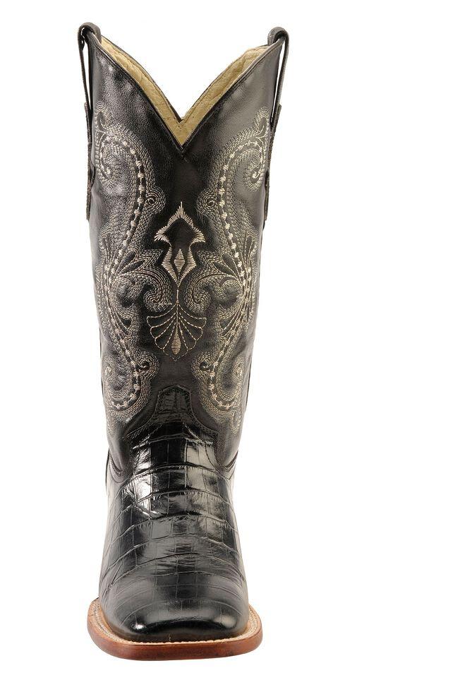 Ferrini Alligator Print Cowgirl Boots - Wide Square Toe, Black, hi-res