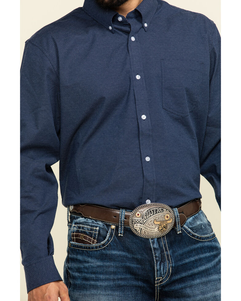 Cody James Core Men's Space Cowboy Geo Print Long Sleeve Western Shirt - Tall , Navy, hi-res