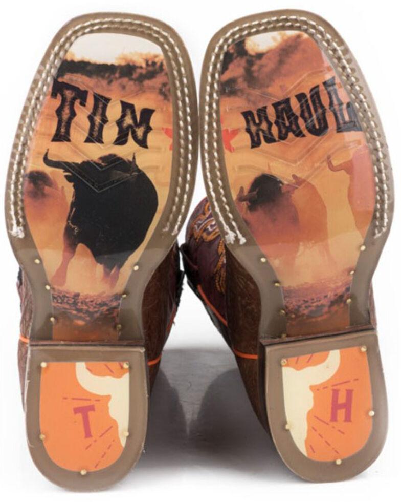 Tin Haul Girls' Wild Bull Western Boots - Square Toe, Tan, hi-res