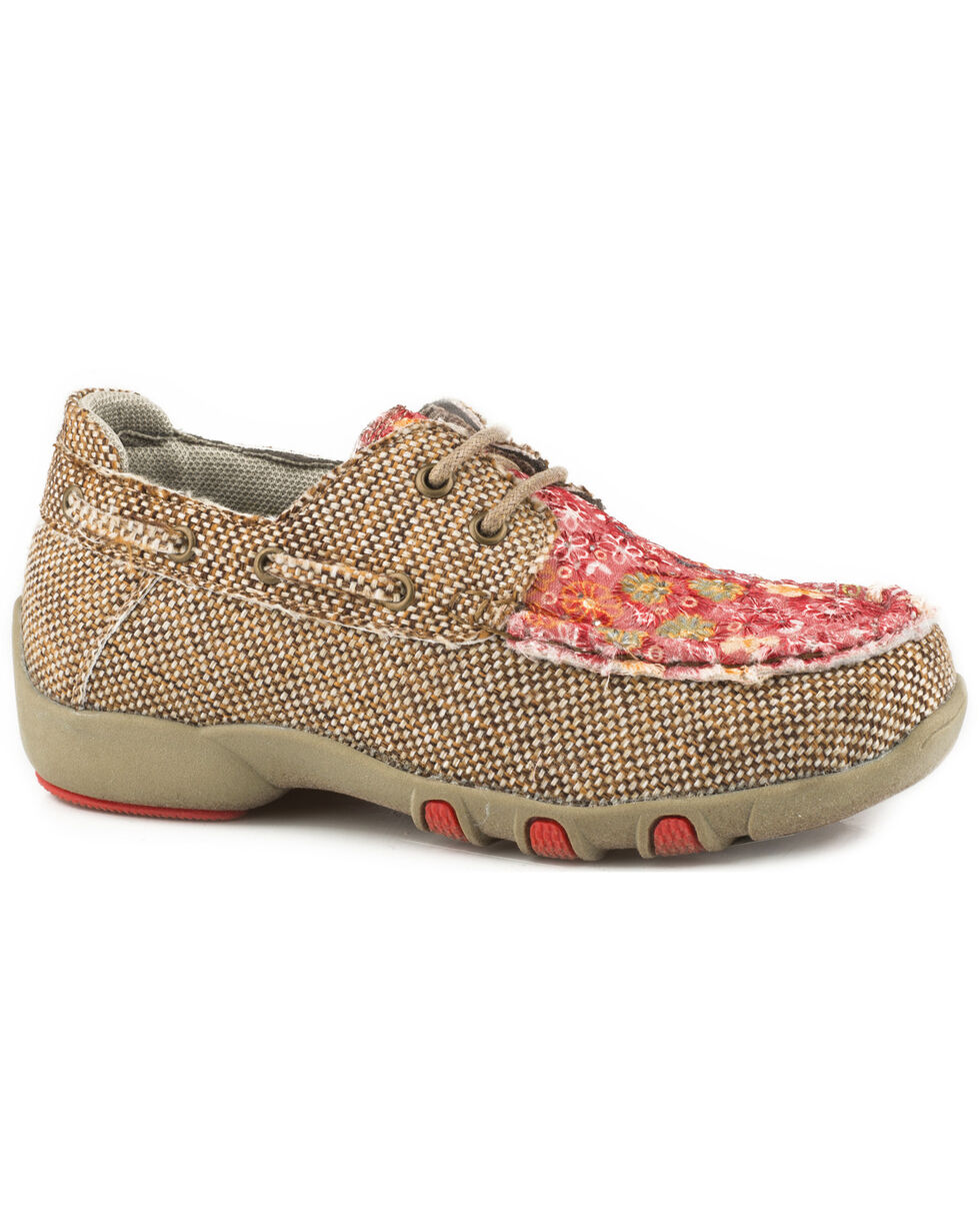 Roper Girls' Chase Floral Fabric Lace Up Driving Mocs - Moc Toe, Tan, hi-res