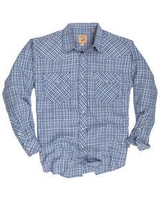 Resistol Men's Blue Garner Small Plaid Long Sleeve Western Shirt , Blue, hi-res