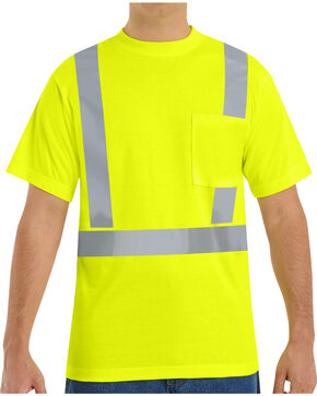 Red Kap Men's Hi-Visibility Short Sleeve Shirt - Big & Tall, Yellow, hi-res