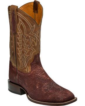 Tony Lama Men's Cognac Sanded Shark Cowboy Boots - Square Toe, Cognac, hi-res