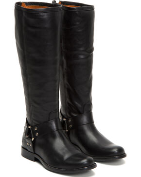Frye Women's Black Phillip Harness Tall Boots - Round Toe , Black, hi-res