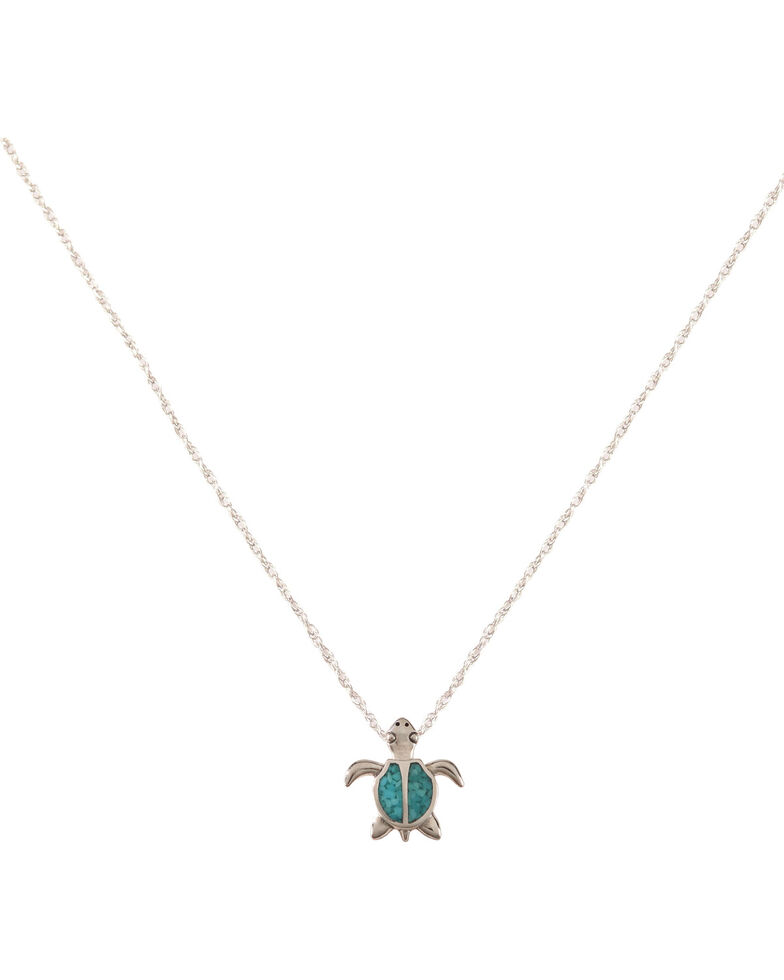 Silver Legends Women's Turquoise Turtle Necklace, Turquoise, hi-res