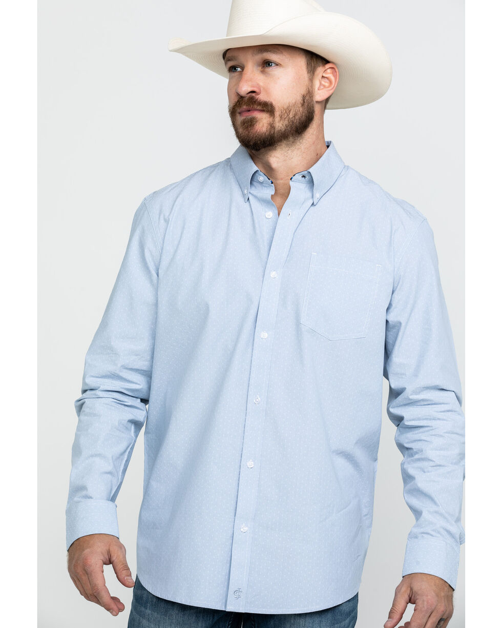 Cody James Core Men's Pinpoint Dobby Geo Print Long Sleeve Western Shirt - Tall , Blue, hi-res