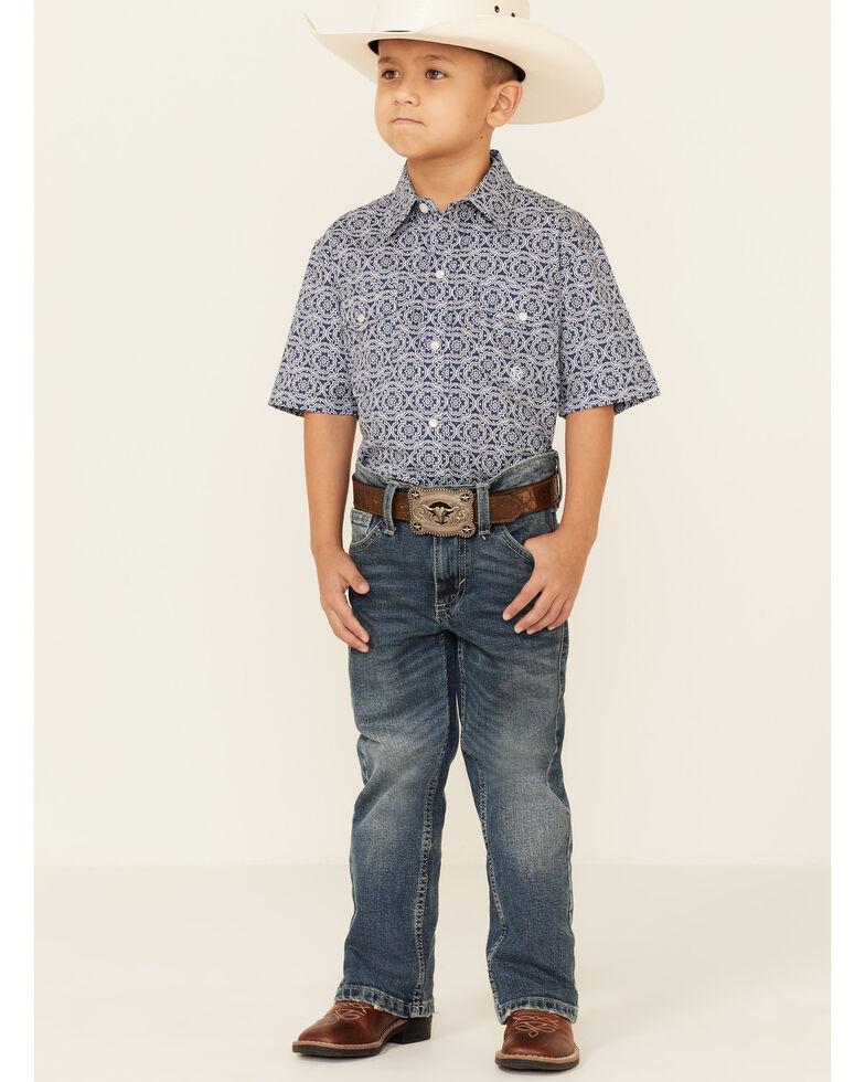 Roper Boys' Navy Medallion Geo Print Short Sleeve Snap Western Shirt , Blue, hi-res