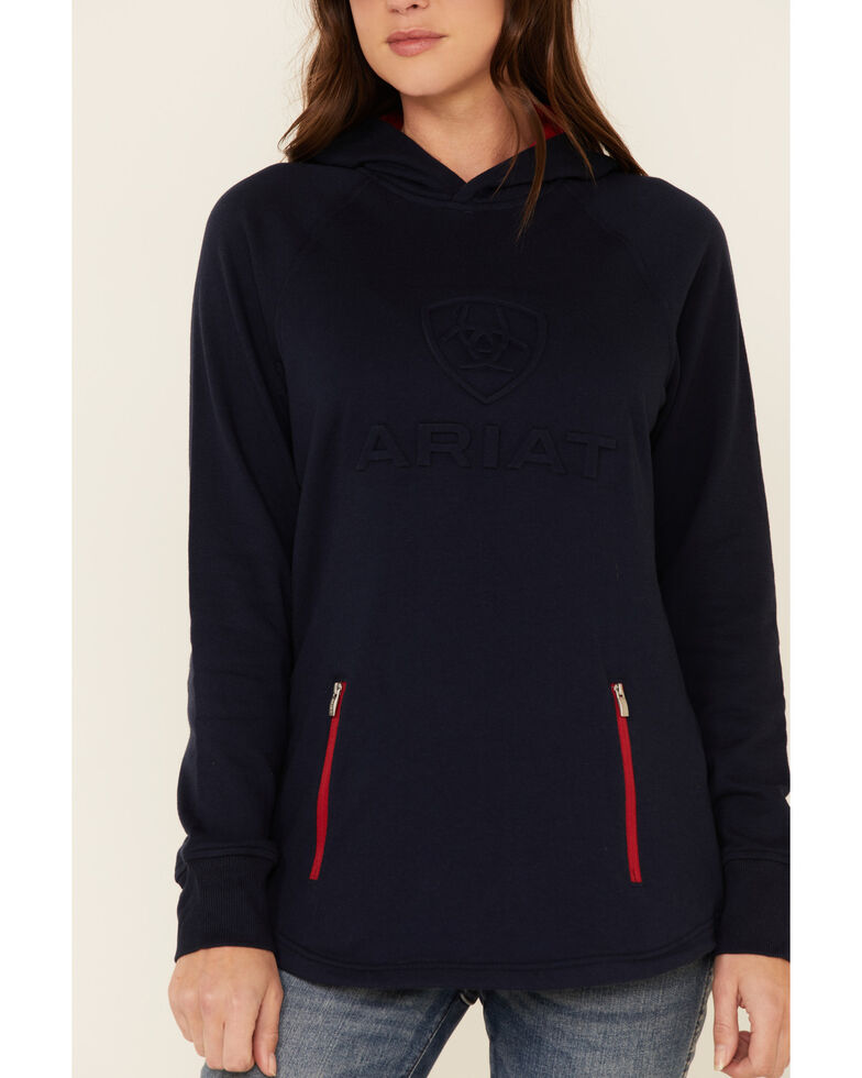 Ariat Women's Navy 3D Logo Contrast Hooded Sweatshirt , Navy, hi-res